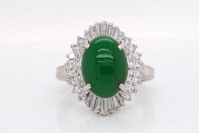 3.80ct Green Jade, 0.90ctw SI1-SI2/G-H Diamond & Solid Platinum Ring