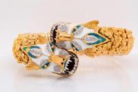 Solid 18K Textured Yellow & White Gold 16mm Wide Articulated Panther Bracelet W/Diamond & Enamel Accents (Comes W/$29,000 Appraisal)