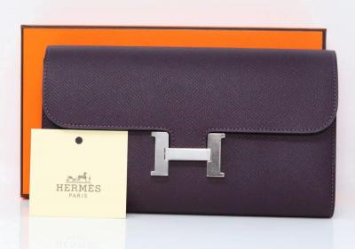 Hermes Constance Long Wallet in Raisin Epsom Calfskin W/Palladium Hardware New in Box W/Tag & Felt Protector