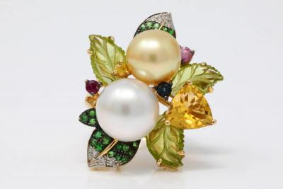 11mm-12.5mm Gold & White South Sea Pearl, 8.70ctw Multi-Gemstone & Solid 14K Yellow Gold Cocktail Ring W/Diamond Accents (Comes W/$13,500 Appraisal)