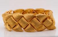 Henry Dunay Solid 18K Woven Yellow Gold Flexible Bracelet (Comes W/$26,000 Appraisal)