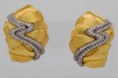 Henry Dunay 1.50ctw VVS2-VS1/F-G Diamond & Solid 18K Yellow Gold/Platinum Earrings (Comes W/$28,000 Appraisal)