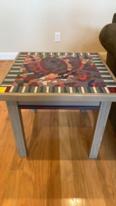 Multi Color Tiled Top End Table