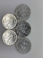 (5) UC 1987 American Eagle Silver Coins