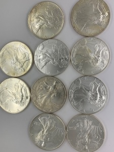 (10) UC American Eagle Silver Coins