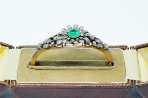 5.00ctw Diamond, 2.00ct Emerald 14K/Silver Bracelet