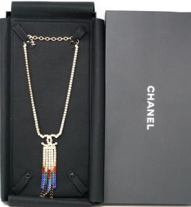 Chanel Fall 2019 CC Logo Rhinestone Tassel Necklace