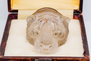 Rock Crystal, Enamel & Silver Tiger Box W/Diamond