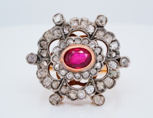 2.00ct Ruby, 1.50ctw Uncut Diamond 14K/Silver Ring
