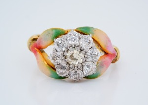 1.50ctw Yellow & White Diamond, Enamel 18K Ring