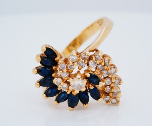 Estate .75ctw Blue Sapphire, .50ctw Diamond 14K Ring