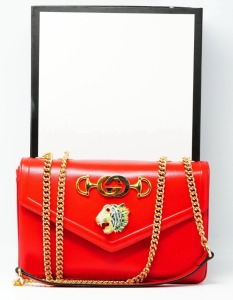 Gucci Hibiscus Leather Rajah Medium Shoulder Bag