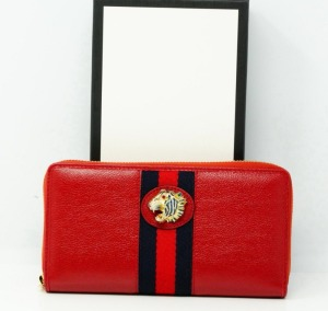 Gucci Cerise Leather Rajah Zip Around Wallet New