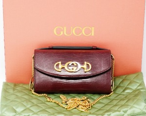 Gucci Zumi Bordeaux Snakeskin Mini Shoulder Bag