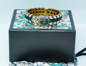 Gucci White & Green Crystal Snake Bracelet W/Box