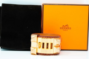 Hermes Collier de Chien Brown Lizard Bracelet