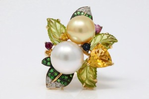 11mm-12.5mm South Sea Pearl, Multi-Gemstone 14K Ring