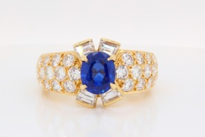 1.28ct GIA Sri Lankan Blue Sapphire & Diamond Ring