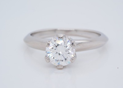 Tiffany & Co. 1ct VS1-VS2/E-F Diamond Platinum Ring