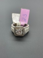 Square Halo Round Center Diamond Ring - 5