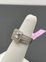 Square Halo Round Center Diamond Ring - 8