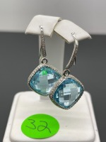 Blue Topaz and Diamond Earrings - 2