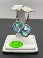 Blue Topaz and Diamond Earrings - 3