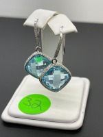 Blue Topaz and Diamond Earrings - 4