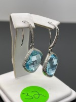 Blue Topaz and Diamond Earrings - 5