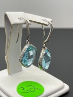 Blue Topaz and Diamond Earrings - 6