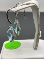 Blue Topaz and Diamond Earrings - 8