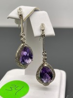 Amethyst Pear Shaped Earrings - 2