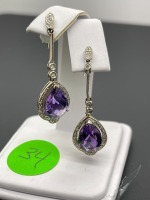 Amethyst Pear Shaped Earrings - 3
