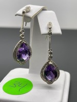 Amethyst Pear Shaped Earrings - 4