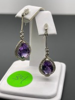 Amethyst Pear Shaped Earrings - 5