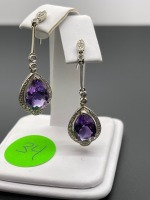 Amethyst Pear Shaped Earrings - 6