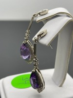 Amethyst Pear Shaped Earrings - 7