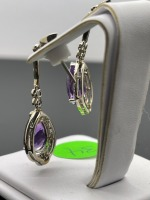 Amethyst Pear Shaped Earrings - 8