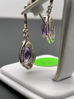 Amethyst Pear Shaped Earrings - 9