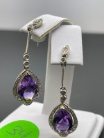 Amethyst Pear Shaped Earrings - 10