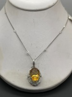 Diamond by the Yard Necklace w 10 ctw Oval Citrine