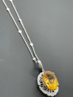 Diamond by the Yard Necklace w 10 ctw Oval Citrine - 3