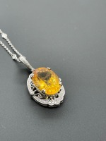 Diamond by the Yard Necklace w 10 ctw Oval Citrine - 4