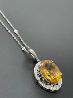 Diamond by the Yard Necklace w 10 ctw Oval Citrine - 5