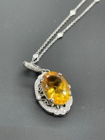 Diamond by the Yard Necklace w 10 ctw Oval Citrine - 12