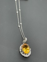Diamond by the Yard Necklace w 10 ctw Oval Citrine - 17