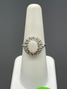 Vintage Estate Opal and Diamond Ring