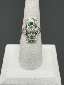 Vintage Estate Emerald and Diamond Ring