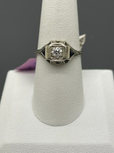 Vintage Estate Filagree Diamond and Sapphire Ring