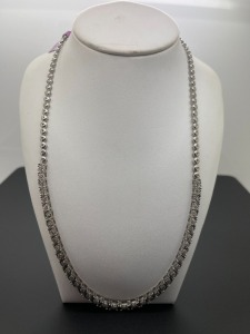 Estate Sterling Diamond Necklace .5 ctw